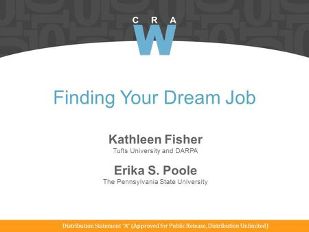 Finding Your Dream Job Kathleen Fisher Erika S. Poole