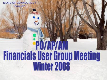 AP/PO/AM User Group Winter 2008 STATE OF CONNECTICUT Core-CT.