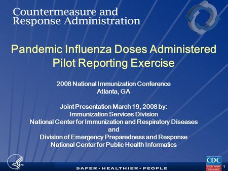 TM 1 Pandemic Influenza Doses Administered Pilot Reporting Exercise 2008 National Immunization Conference Atlanta, GA Joint Presentation March 19, 2008.
