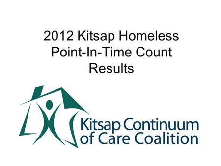 2012 Kitsap Homeless Point-In-Time Count Results.