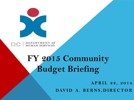 APRIL 22, 2014 DAVID A. BERNS,DIRECTOR FY 2015 Community Budget Briefing.