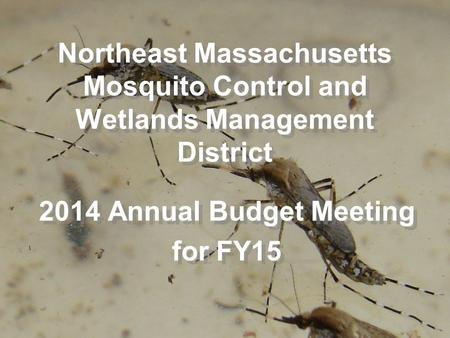 Northeast Massachusetts Mosquito Control and Wetlands Management District 2014 Annual Budget Meeting for FY15 2014 Annual Budget Meeting for FY15.