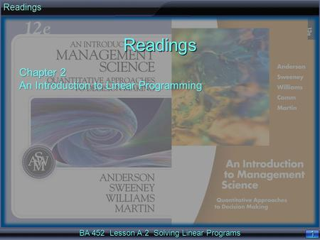 BA 452 Lesson A.2 Solving Linear Programs 1 1ReadingsReadings Chapter 2 An Introduction to Linear Programming.