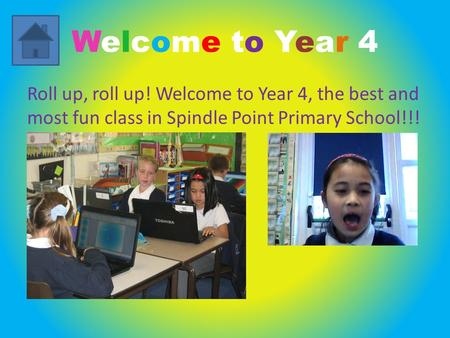 Welcome to Year 4 Roll up, roll up! Welcome to Year 4, the best and most fun class in Spindle Point Primary School!!!