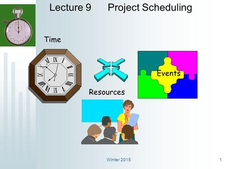 Winter 20151 Lecture 9 Project Scheduling Time Events Resources.