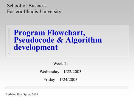 Program Flowchart, Pseudocode & Algorithm development