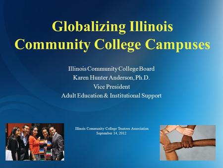 Globalizing Illinois Community College Campuses Illinois Community College Board Karen Hunter Anderson, Ph.D. Vice President Adult Education & Institutional.