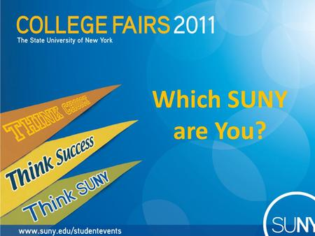 Which SUNY are You?. SUNY: More opportunities for you to pursue your goals than any other state university system in the nation.