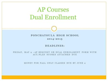 PONCHATOULA HIGH SCHOOL 2014-2015 DEADLINES: FRIDAY, MAY 9 –AP REQUEST OR DUAL ENROLLMENT FORM WITH ACT/PLAN SCORES ATTACHED DUE MONEY FOR FALL ONLY CLASSES.