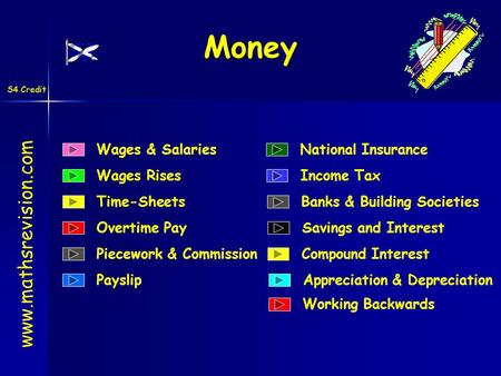 S4 Credit Wages & Salaries Wages Rises Money www.mathsrevision.com Time-Sheets Overtime Pay Piecework & Commission Payslip National Insurance Income Tax.
