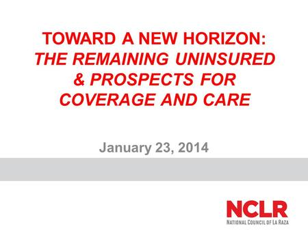 TOWARD A NEW HORIZON: THE REMAINING UNINSURED & PROSPECTS FOR COVERAGE AND CARE January 23, 2014.