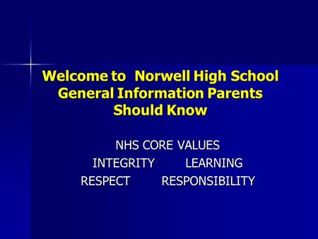 Welcome to Norwell High School General Information Parents Should Know NHS CORE VALUES NHS CORE VALUES INTEGRITY LEARNING INTEGRITY LEARNING RESPECT RESPONSIBILITY.