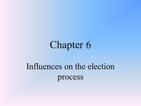 Chapter 6 Influences on the election process. Voter Participation Franchise/Suffrage – right to voteFranchise/Suffrage – right to vote Electorate – potential.