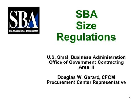 SBA Size Regulations U.S. Small Business Administration