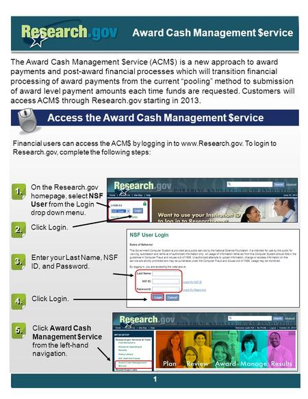 . The Award Cash Management $ervice (ACM$) is a new approach to award payments and post-award financial processes which will transition financial processing.