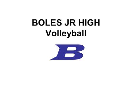 BOLES JR HIGH Volleyball B. COACHING STAFF Sarah Henley –Volleyball, Basketball, Track Sarah Holub –Volleyball, Basketball, Track Malissa Poole –Cross.