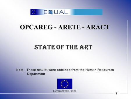 1 OPCAREG - ARETE - ARACT European Social Fonds State of the Art Note : These results were obtained from the Human Resources Department.