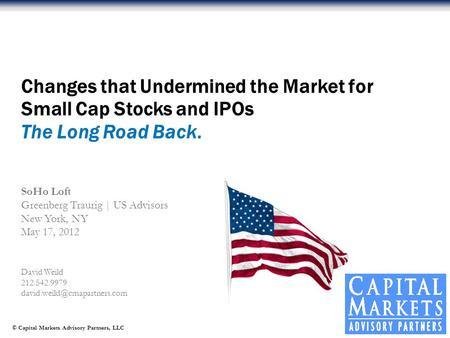 © Capital Markets Advisory Partners, LLC David Weild 212.542.9979 Changes that Undermined the Market for Small Cap Stocks and.