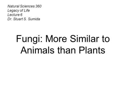 Natural Sciences 360 Legacy of Life Lecture 6 Dr. Stuart S. Sumida Fungi: More Similar to Animals than Plants.
