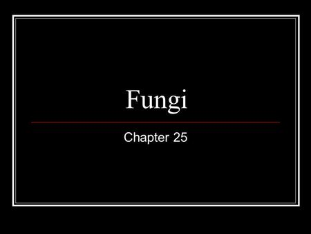 Fungi Chapter 25. Characteristics Eukaryotes Heterotrophs Feed by absorption rather than ingestion Most are decomposers Prefer moist habitats Can survive.