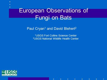 European Observations of Fungi on Bats Paul Cryan 1 and David Blehert 2 1 USGS Fort Collins Science Center 2 USGS National Wildlife Health Center.