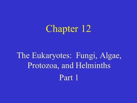 Chapter 12 The Eukaryotes: Fungi, Algae, Protozoa, and Helminths Part 1.