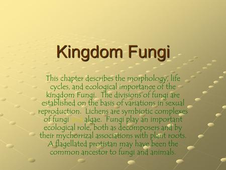 Kingdom Fungi This chapter describes the morphology, life cycles, and ecological importance of the kingdom Fungi. The divisions of fungi are established.