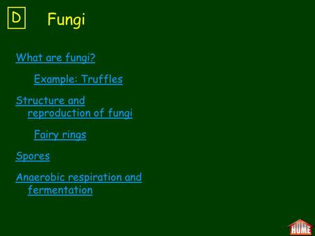 What are fungi? Example: Truffles Structure and reproduction of fungi Fairy rings Spores Anaerobic respiration and fermentation D Fungi.