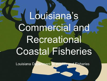 Louisiana's Commercial and Recreational Coastal Fisheries Louisiana Department of Wildlife and Fisheries.