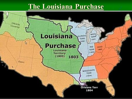 The Louisiana Purchase. In 1803 President Jefferson sent James Monroe to Paris to negotiate with Napoleon (French ruler) for the Louisiana territory In.