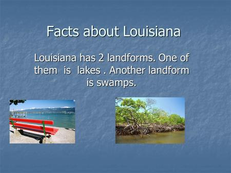 Facts about Louisiana Louisiana has 2 landforms. One of them is lakes. Another landform is swamps.
