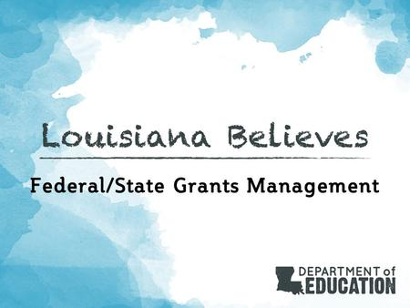 Federal/State Grants Management. Role of Grants Management Unit  Calculate grant allocations and prepare Grant Award Notifications  10/1 enrollment.