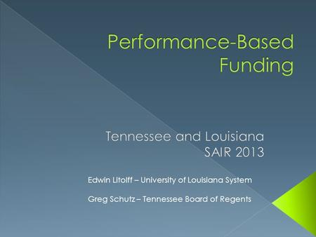 Performance-Based Funding