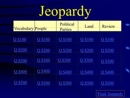Jeopardy VocabularyPeople Political Parties Land Review Q $100 Q $200 Q $300 Q $400 Q $500 Q $100 Q $200 Q $300 Q $400 Q $500 Final Jeopardy.