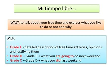 Mi tiempo libre… WALT: to talk about your free time and express what you like to do or not and why WILF: Grade E - detailed description of free time activities,