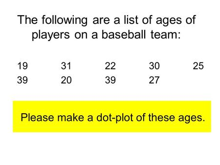 The following are a list of ages of players on a baseball team: 1931223025 39203927 Please make a dot-plot of these ages.