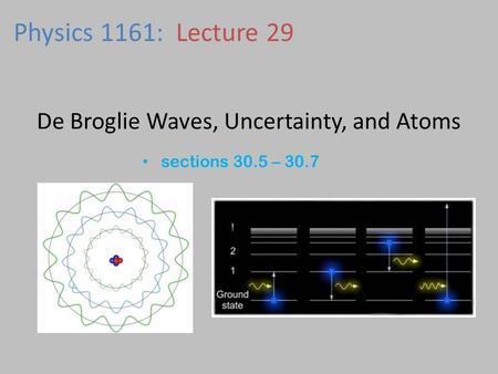 De Broglie Waves, Uncertainty, and Atoms sections 30.5 – 30.7 Physics 1161: Lecture 29.