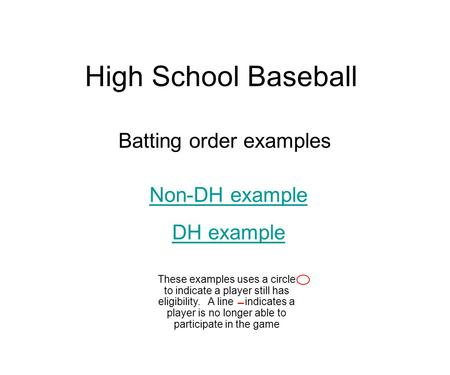 High School Baseball Batting order examples Non-DH example DH example These examples uses a circle to indicate a player still has eligibility. A line indicates.