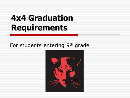 4x4 Graduation Requirements For students entering 9 th grade.