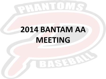2014 BANTAM AA MEETING. WELCOME Coaching Staff – John Saunders – Head Coach – Dominic Burry – Assistant Coach – Brandon Jackson – Assistant Coach – Team.