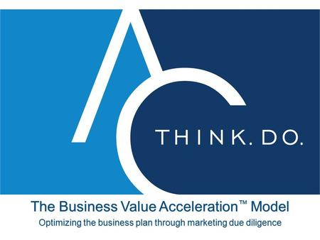 The Business Value Acceleration ™ Model Optimizing the business plan through marketing due diligence.
