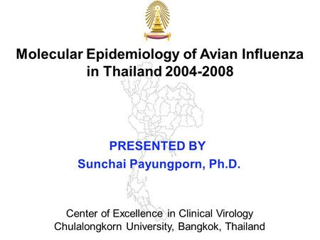 Molecular Epidemiology of Avian Influenza in Thailand 2004-2008 PRESENTED BY Sunchai Payungporn, Ph.D. Center of Excellence in Clinical Virology Chulalongkorn.