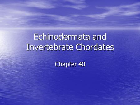 Echinodermata and Invertebrate Chordates