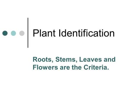 Roots, Stems, Leaves and Flowers are the Criteria.