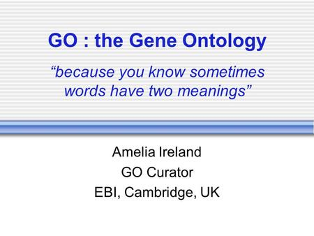 "GO : the Gene Ontology ""because you know sometimes words have two meanings"" Amelia Ireland GO Curator EBI, Cambridge, UK."