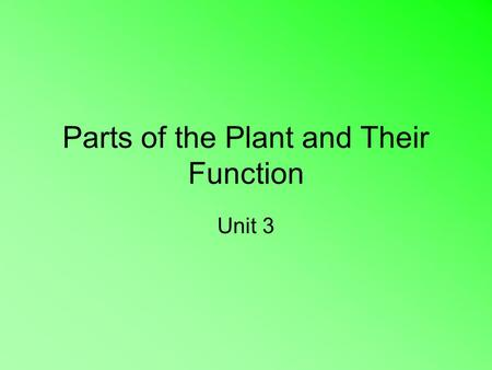 Parts of the Plant and Their Function Unit 3. The Importance of Plants Primary source of food Produce Oxygen Renew and cool the air, slow high winds,