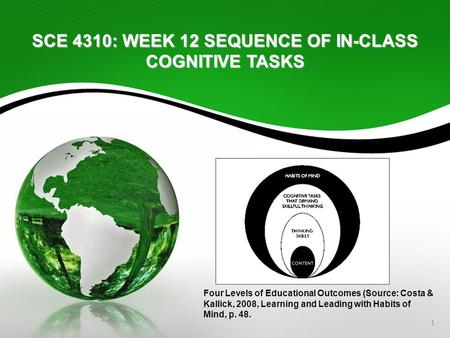 1 SCE 4310: WEEK 12 SEQUENCE OF IN-CLASS COGNITIVE TASKS Four Levels of Educational Outcomes (Source: Costa & Kallick, 2008, Learning and Leading with.