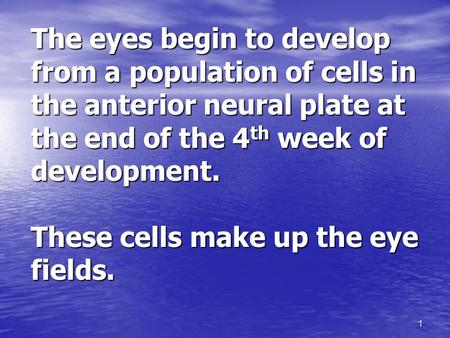 1 The eyes begin to develop from a population of cells in the anterior neural plate at the end of the 4 th week of development. These cells make up the.