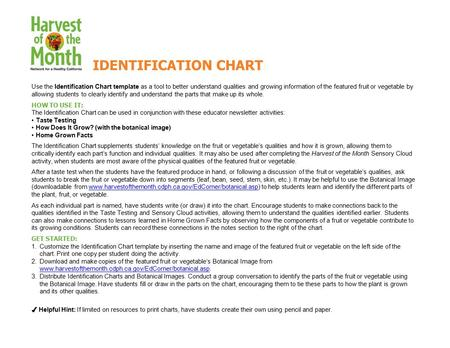 Use the Identification Chart template as a tool to better understand qualities and growing information of the featured fruit or vegetable by allowing students.