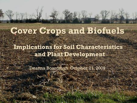 Cover Crops and Biofuels Implications for Soil Characteristics and Plant Development Deanna Boardman October 21, 2009.